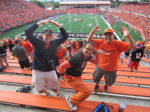 OSU Beavers upset the Wisconsin Badgers in Corvallis, OR September 2012.  With my friends Matt and John