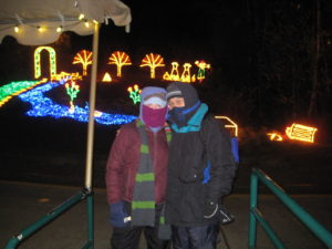 ZooLights on a cold December 2009 evening.  I remember that there weren't too many visitors braving the elements like we were!